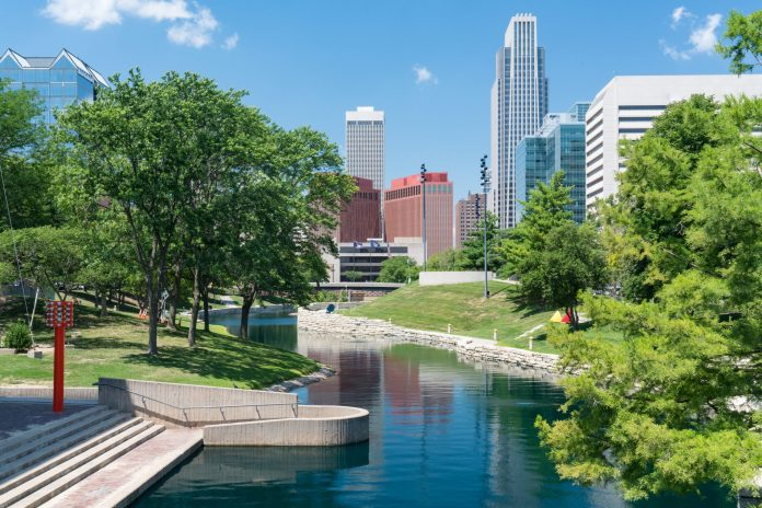 Omaha with creek flowing through city