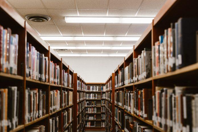 dimly lit library corridor