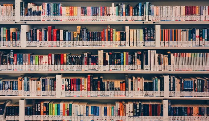 colorful books on library shelves