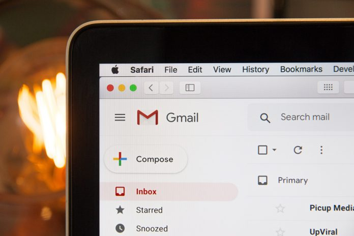 close up of computer with gmail open