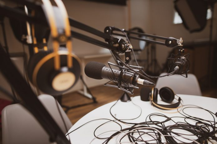 podcast studio with microphone and recording equipment