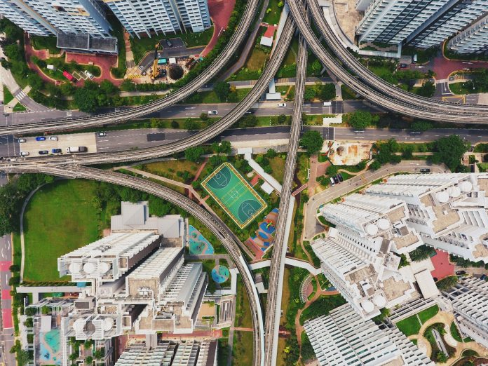 birds eye view of interstate off ramps and changes